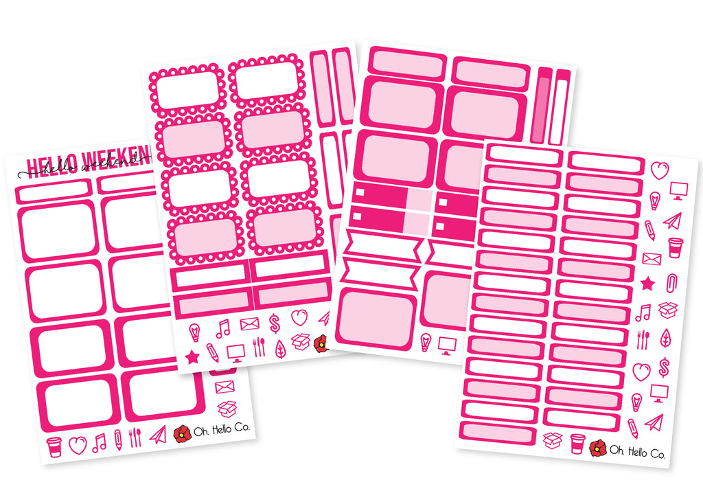The Pinks - Rainbow Functional Stickers - Oh, Hello Stationery Co. bullet journal Erin Condren stickers scrapbook planner case customized gifts mugs Travlers Notebook unique fun