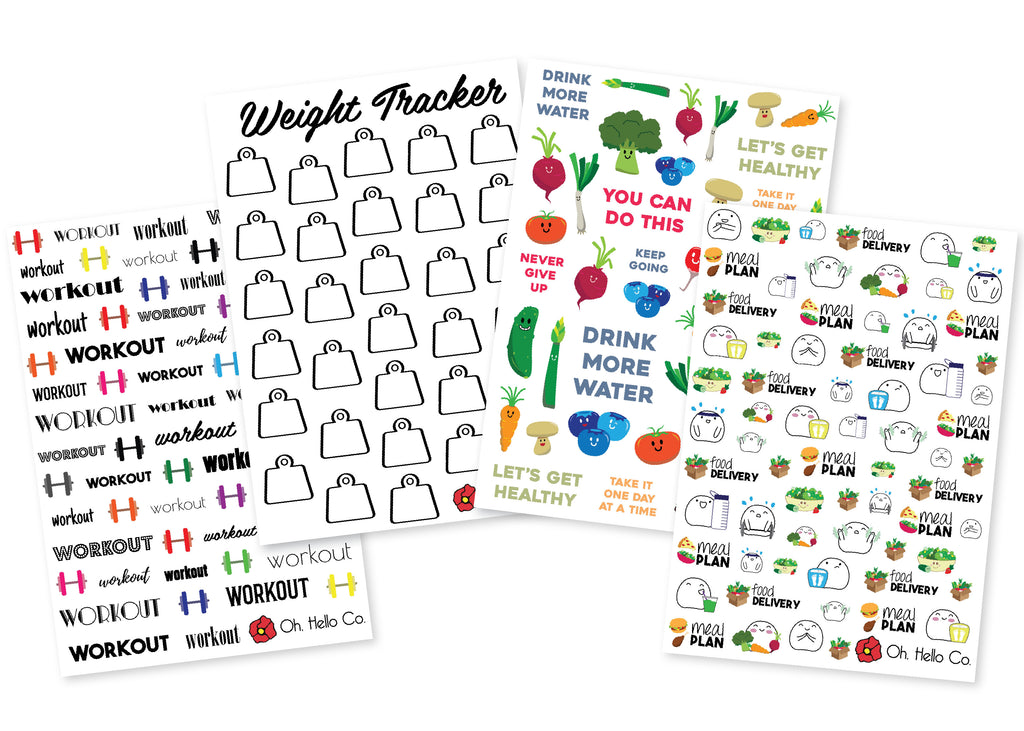Health & Fitness Stickers - Oh, Hello Stationery Co. bullet journal Erin Condren stickers scrapbook planner case customized gifts mugs Travlers Notebook unique fun