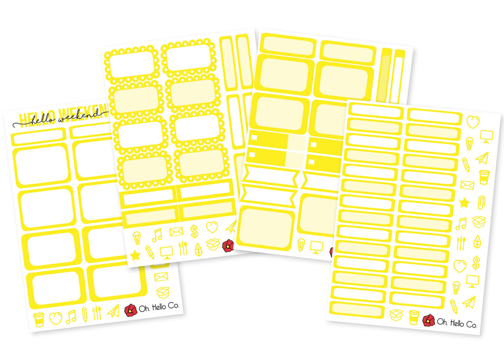 The Yellows - Rainbow Functional Stickers - Oh, Hello Stationery Co. bullet journal Erin Condren stickers scrapbook planner case customized gifts mugs Travlers Notebook unique fun