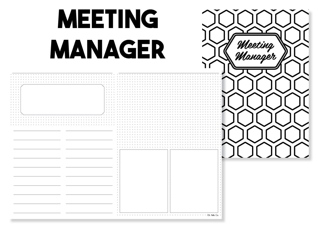 Meeting Manager Traveler's Notebook Insert - Oh, Hello Stationery Co. bullet journal Erin Condren stickers scrapbook planner case customized gifts mugs Travlers Notebook unique fun