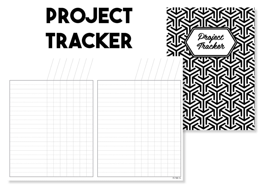 Project Tracker Traveler's Notebook Insert - Oh, Hello Stationery Co. bullet journal Erin Condren stickers scrapbook planner case customized gifts mugs Travlers Notebook unique fun