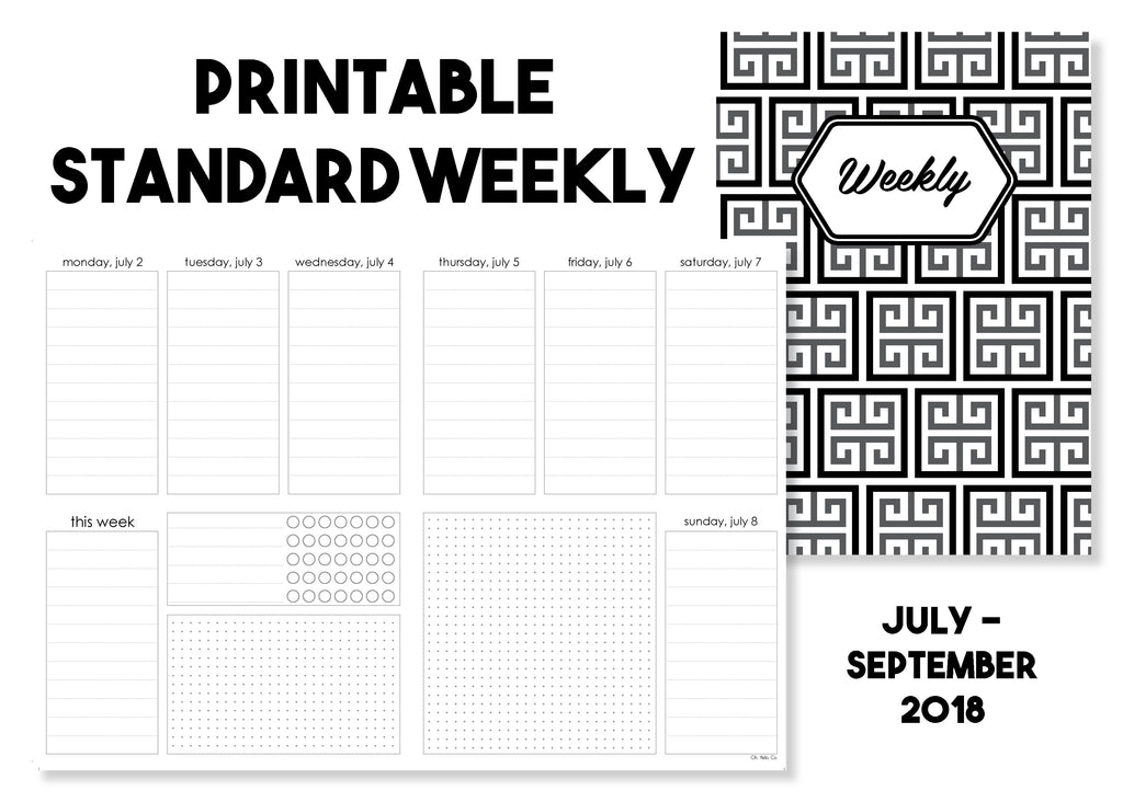 Printable Standard Weekly Traveler's Notebook Insert - July-September 2018