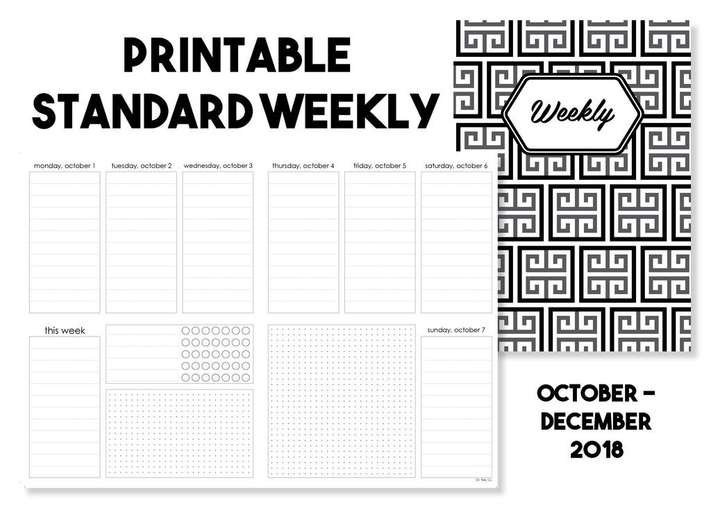Printable Standard Weekly Traveler's Notebook Insert - October-December 2018