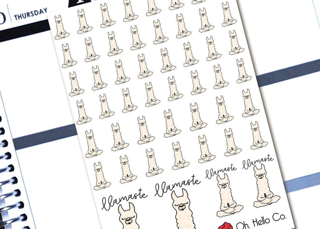 Llamaste Yoga Llamas - Printable Stickers for the Silhouette - Oh, Hello Stationery Co. bullet journal Erin Condren stickers scrapbook planner case customized gifts mugs Travlers Notebook unique fun