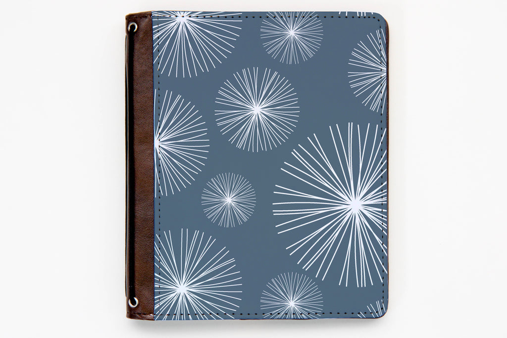 Customizable Traveler's Notebook Cover - Blue Bursts - BR92 - Oh, Hello Stationery Co. bullet journal Erin Condren stickers scrapbook planner case customized gifts mugs Travlers Notebook unique fun
