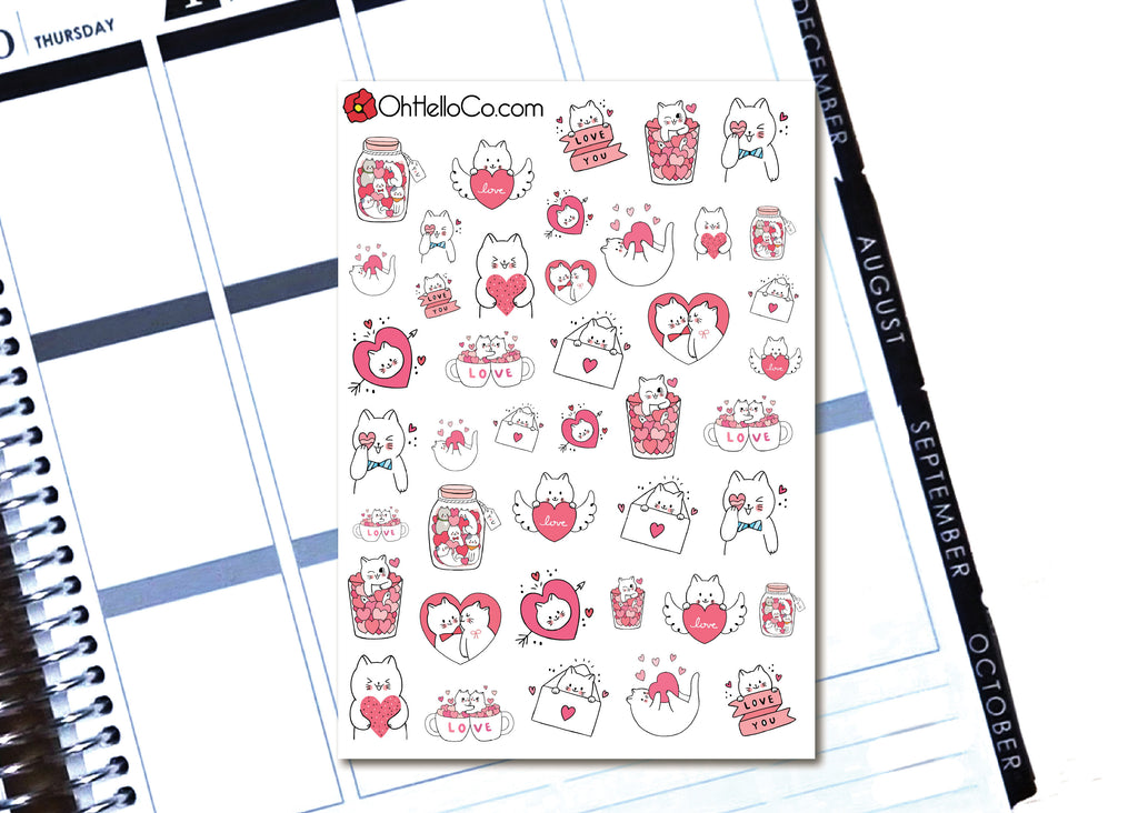Valentine's Day Cats - Printable Stickers for the Silhouette - Oh, Hello Stationery Co. bullet journal Erin Condren stickers scrapbook planner case customized gifts mugs Travlers Notebook unique fun
