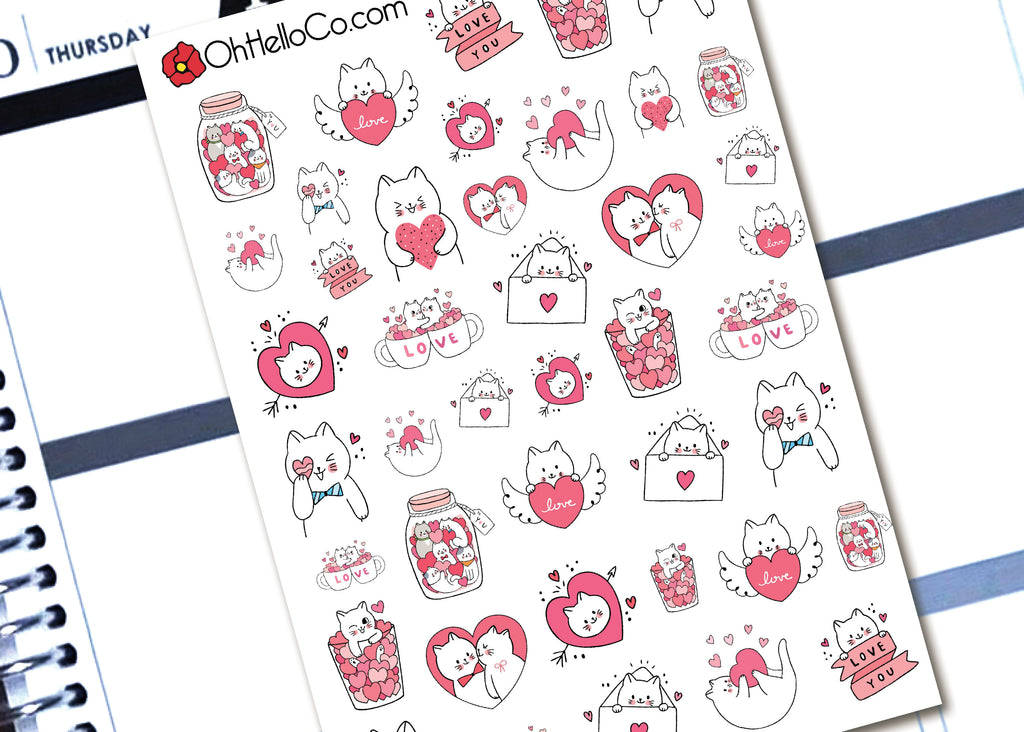 Valentine's Day Cats - Printable Stickers for the Silhouette