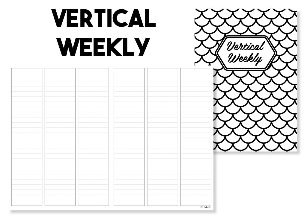 Vertical Weekly Traveler's Notebook Insert - Oh, Hello Stationery Co. bullet journal Erin Condren stickers scrapbook planner case customized gifts mugs Travlers Notebook unique fun