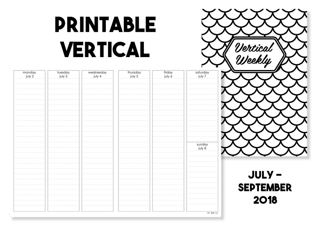 Printable Vertical Weekly Traveler's Notebook Insert - July-September 2018 - Oh, Hello Stationery Co. bullet journal Erin Condren stickers scrapbook planner case customized gifts mugs Travlers Notebook unique fun