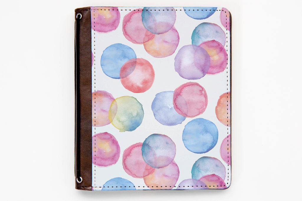 Customizable Traveler's Notebook Cover - Watercolor Circles - Oh, Hello Stationery Co. bullet journal Erin Condren stickers scrapbook planner case customized gifts mugs Travlers Notebook unique fun