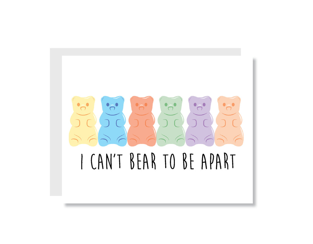 I Can't Bear to Be Apart Greeting Card - CARD23 - Oh, Hello Stationery Co. bullet journal Erin Condren stickers scrapbook planner case customized gifts mugs Travlers Notebook unique fun
