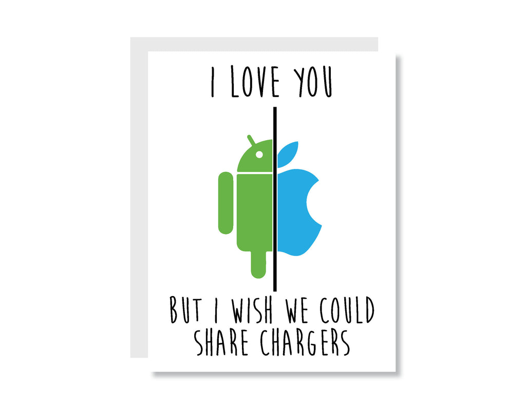 I Love You But I Wish We Could Share Chargers Greeting Card - CARD29 - Oh, Hello Stationery Co. bullet journal Erin Condren stickers scrapbook planner case customized gifts mugs Travlers Notebook unique fun