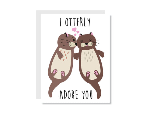 I Otterly Adore You Greeting Card - Oh, Hello Stationery Co. bullet journal Erin Condren stickers scrapbook planner case customized gifts mugs socks unique fun