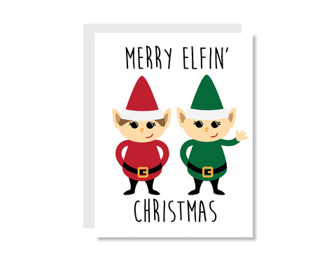 Merry Elfin' Christmas Greeting Card - Oh, Hello Stationery Co.   - 1