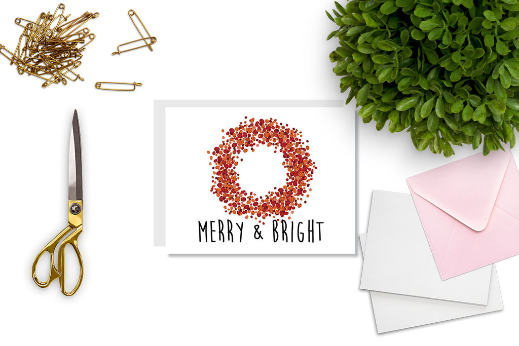 Merry & Bright Greeting Card - CARD52 - Oh, Hello Stationery Co. bullet journal Erin Condren stickers scrapbook planner case customized gifts mugs Travlers Notebook unique fun