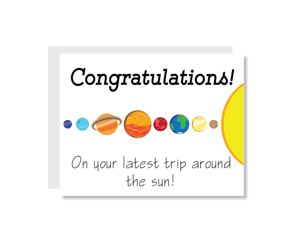 Congratulations on Another Trip Around the Sun Greeting Card - CARD84 - Oh, Hello Stationery Co. bullet journal Erin Condren stickers scrapbook planner case customized gifts mugs Travlers Notebook unique fun