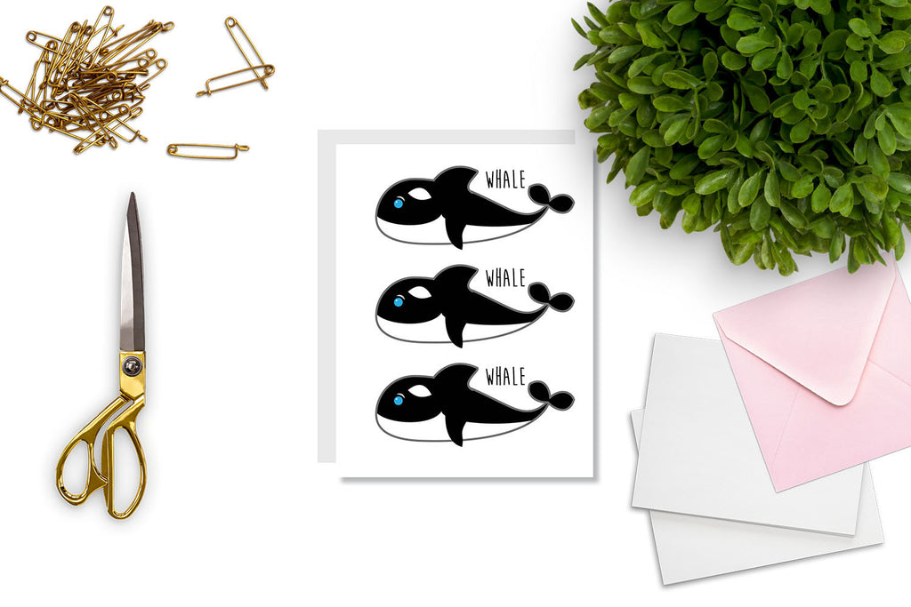 Whale, Whale, Whale Greeting Card - CARD92 - Oh, Hello Stationery Co. bullet journal Erin Condren stickers scrapbook planner case customized gifts mugs Travlers Notebook unique fun