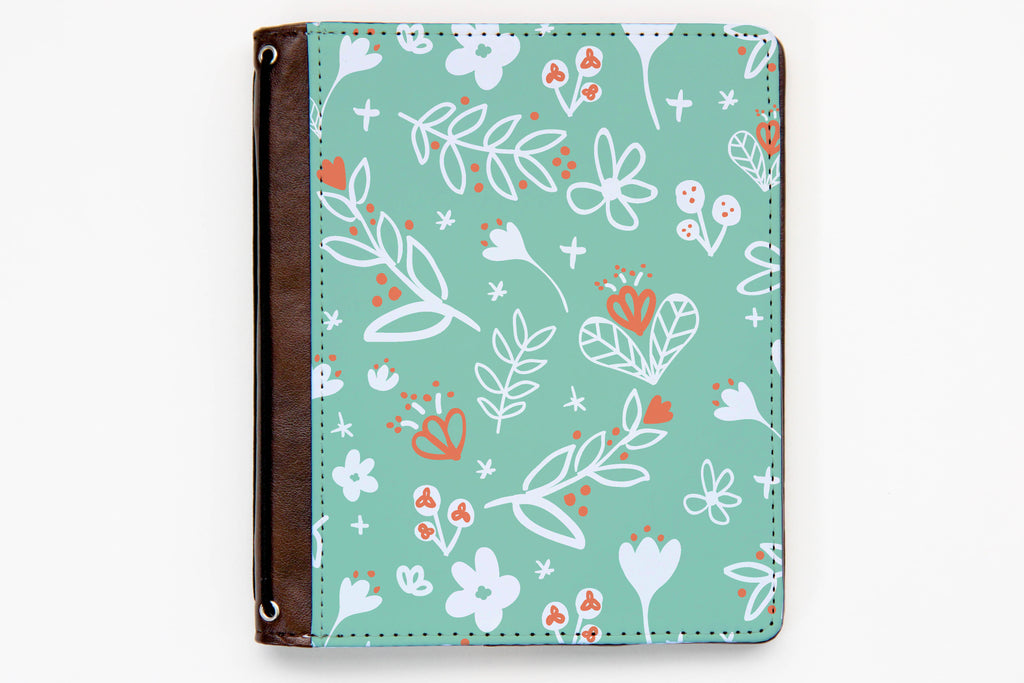 Customizable Traveler's Notebook Cover - White Line Floral - Oh, Hello Stationery Co. bullet journal Erin Condren stickers scrapbook planner case customized gifts mugs Travlers Notebook unique fun