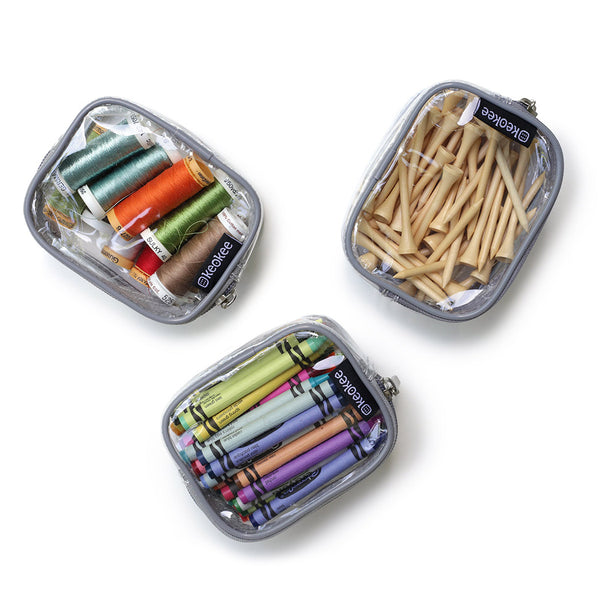 Tiny clear zippered bag set of three