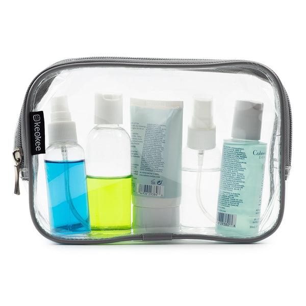 Grey - Clear Toiletry Bag Set - Keokee Travel Gear