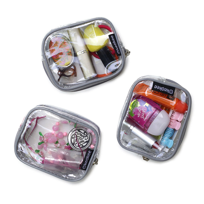 Small Clear Cosmetic or Multipurpose Bags - Set of Three - Keokee Travel Gear