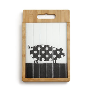 Wood and Glass Cutting Board Set Pig