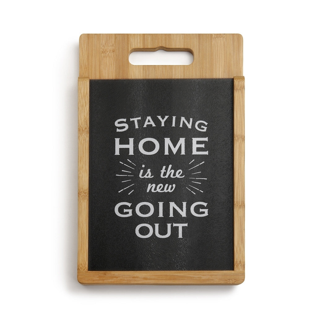 Staying Home - Wood and Glass Cutting Board Set