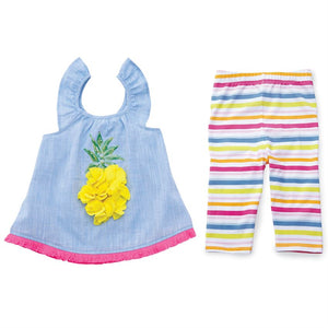 Ruffle Pineapple Tunic & Capri Set