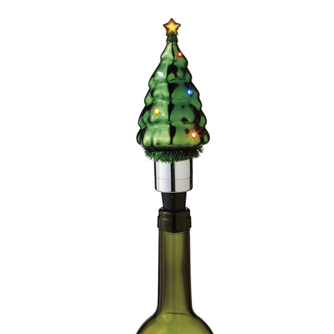 Lighted LED Flashing Tree Bottle Stopper