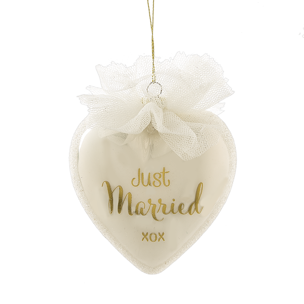 """Just Married XOX"" Ornament"