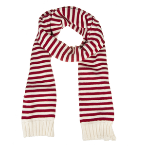 Red Striped Cotton Scarf