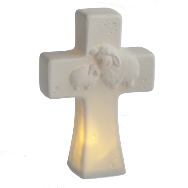 Porcelain Bo Lamb Wall Cross