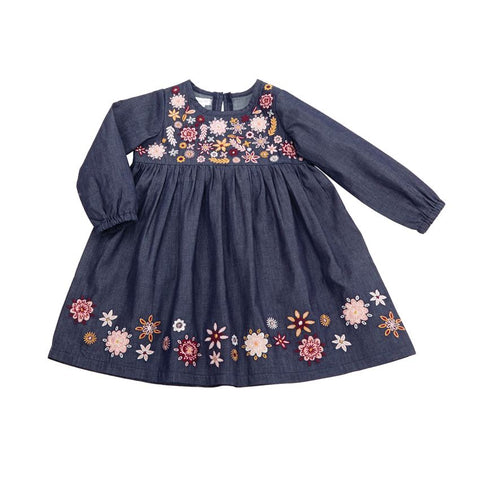 Chambray Embroidery Dress Toddler