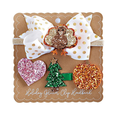 Mudpie Holiday Glitter Clip Headband Set
