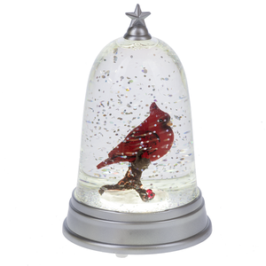 Lighted LED Cardinal in Cloche Mini Shimmer