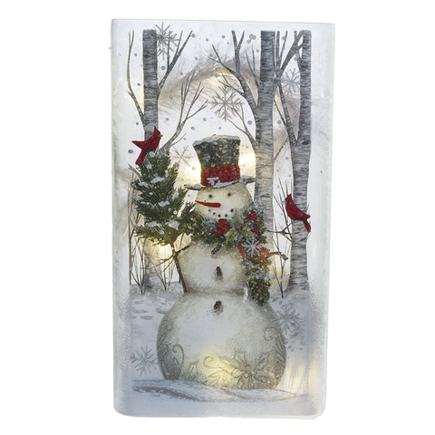 Lighted LED Snowman Tall Flat Vase