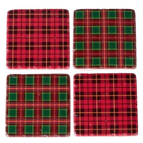 Plaid Coaster Set