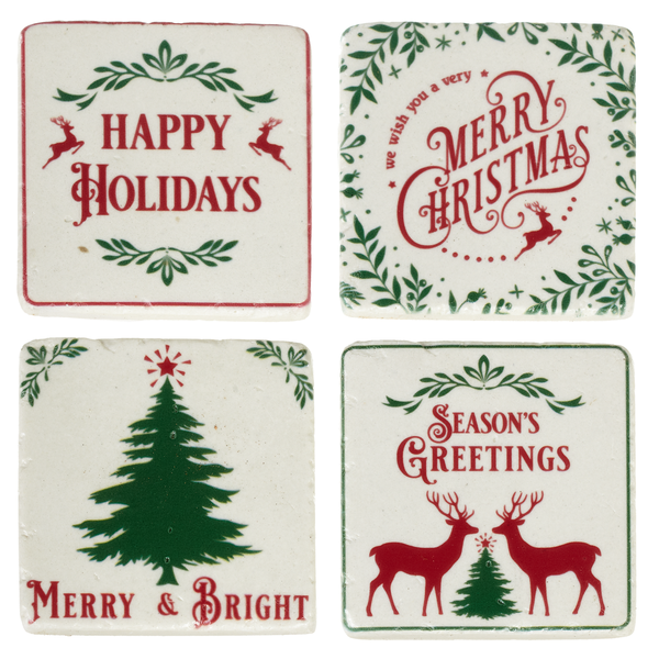 Holiday Text Coaster Set