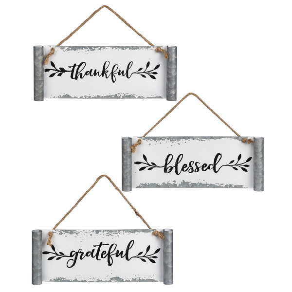 "Galvanized Scroll ""Thankful, Grateful, Blessed""Wall Decor"