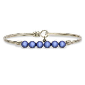 Crystal Pearl Bangle Bracelet In Blue Lapis