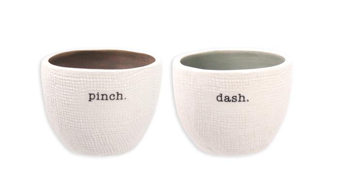 Rae Dunn PINCH + DASH Salt and Pepper Cellars (Set of 2)