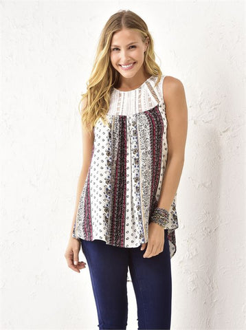 Crochet Accent Printed Tanks