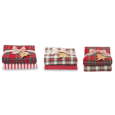 Tartan & Ticking Stripe Dish Towel Sets