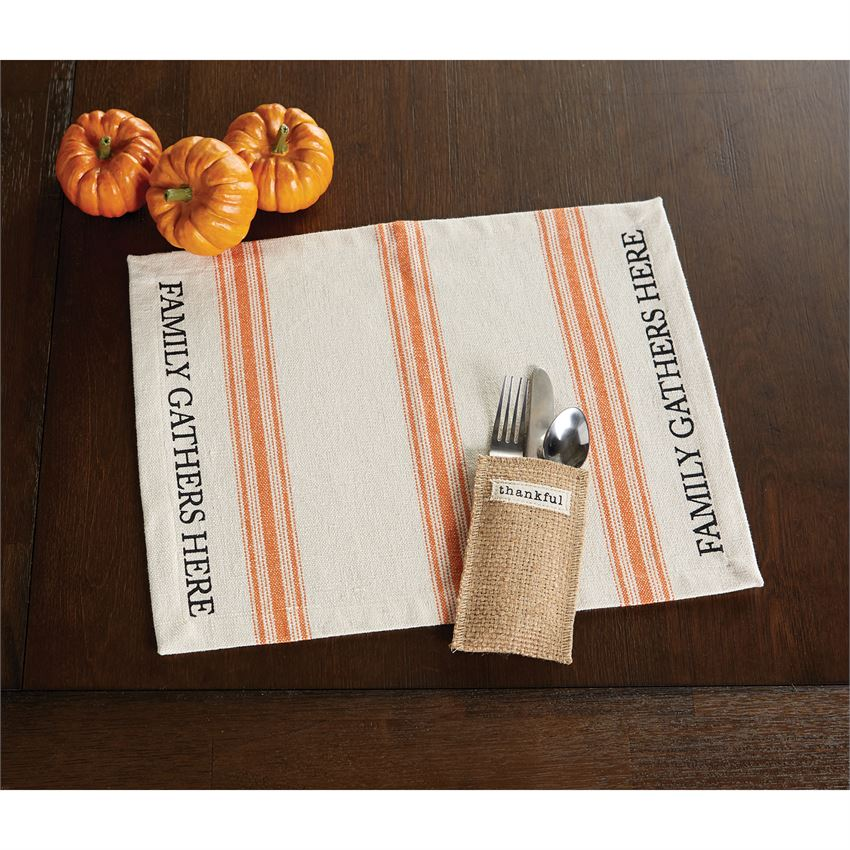 Jute Thankful Utensil Holder Set