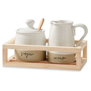 Stoneware Cream & Sugar Crate Set
