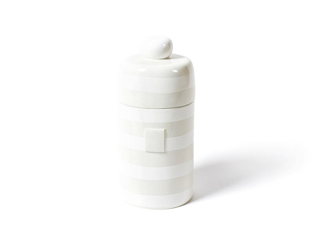 White Stripe Mini Canister