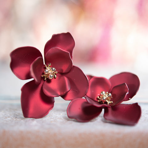 Medium Flower Earring - Pearl Wine