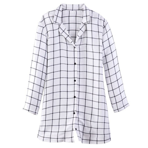 Prim Night Shirt White Windowpane