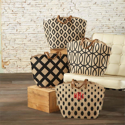 Black/Natural Print Jute Tote