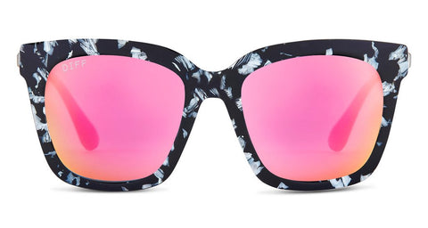 DIFF Bella Sunglasses- Black / White Frame - Pink Mirror Polarized Lens